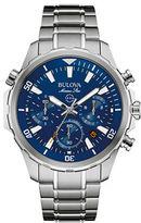 Bulova Marine Star Blue Face Stainless Steel Chronograph Diving Watch 96B256