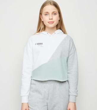 New Look Girls Light Colour Block Slogan Hoodie