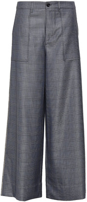 Ganni Prince Of Wales Embellished Silk And Wool-blend Wide-leg Pants