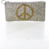Moyna Silver Gold Beaded Peace Sign Embellished Cosmetic Clutch Bag