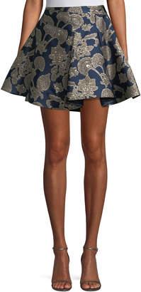 Roberto Cavalli Metallic Brocade Flare Skirt