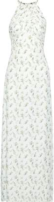 Rachel Zoe Olivia Open-back Ruched Floral-print Twill Gown