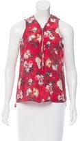 The Kooples Floral Print Silk Top