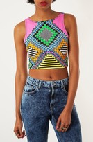 Topshop 'Safari Party' Crop Tank Pink Multi 10