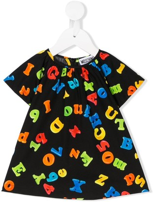 MOSCHINO BAMBINO Alphabet Print Short-Sleeve Dress