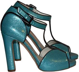 Rupert Sanderson Turquoise Leather Sandals