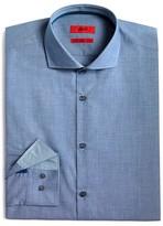 HUGO Textured Solid Micro Check Slim Fit Dress Shirt