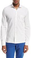 Isaia Piqué; Knit Long-Sleeve Oxford Shirt