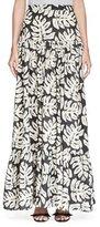 Chloé Palm-Print Pleated Maxi Skirt, White/Black