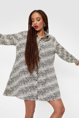 Nasty Gal Womens Leopard Print Oversized Boyfriend Shirt Dress - Beige - 4
