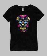Micro Me Black Neon Skull Fitted Tee - Infant, Toddler & Girls