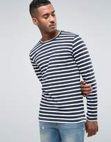 Jack and Jones Core Long Sleeve Top with Stripe and Pocket