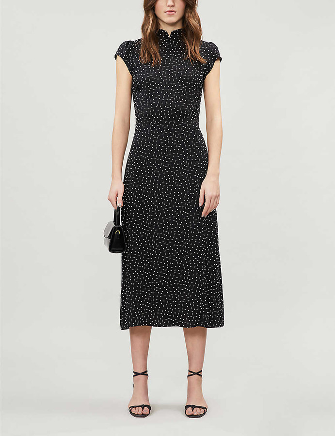 Reformation Patti polka dot-print crepe midi dress