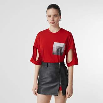 Burberry Cut-out Detail Montage Print Oversized T-shirt