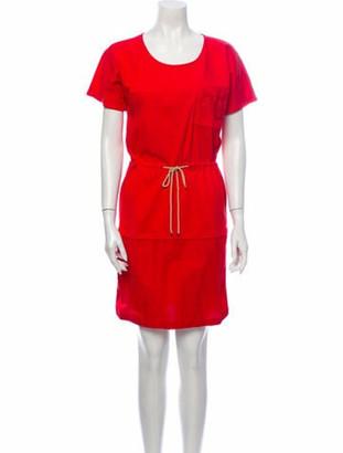 Hermes Scoop Neck Mini Dress Red