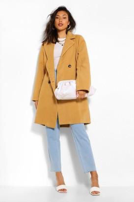 boohoo Double Breasted Wool Look Coat
