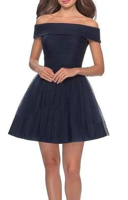 La Femme Short Off The Shoulder Beaded Dress