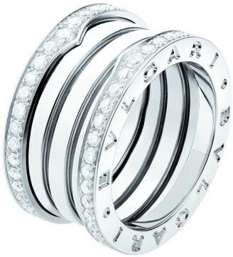 Bvlgari White Gold and Diamond Four-Band B.Zero1 Ring