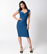 Stop Staring 1940s Peacock Blue Love Wiggle Dress