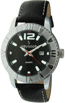 Peugeot Men's Sport Bezel Black Leather Strap Watch