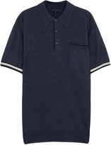 Lanvin Striped Wool Blend Polo Shirt