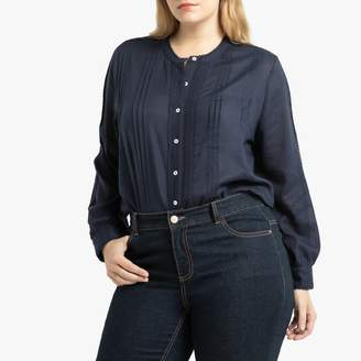 La Redoute Collections Plus Cotton Mix Round-Neck Blouse with Long Sleeves