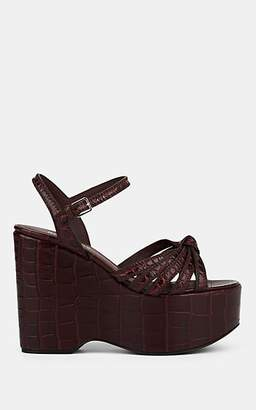 Burberry Women's Margate Stamped Leather Platform-Wedge Sandals - Wine