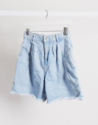 Free People Venice Culotte Short in washed denim