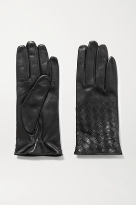 Portolano Woven Leather Gloves - Black