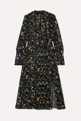 Altuzarra League Ruffled Floral-print Silk Crepe De Chine Midi Dress - Black