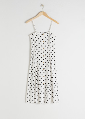And other stories Polka Dot Button Up Midi Dress