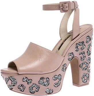 Sophia Webster Beige Leather Embellished Platform Ankle Strap Sandals Size 38.5