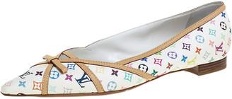 Louis Vuitton White Multicolor Monogram Canvas Flats Size 39
