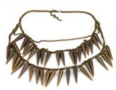 Charm & Chain World Pride Vintage Bronze Punk Rivets Fringe Spike Party Club Costume Charm Chain Necklace