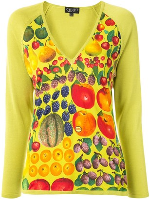 Gucci Pre-Owned fruit print V-neck blouse