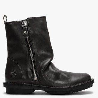 Fly London Fade Diesel Leather Ruched Ankle Boots