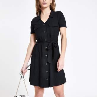 River Island Womens Petite Black ribbed utility shirt dress