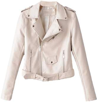 Goodnight Macaroon 'Sugar' Faux Leather Biker Jacket (2 Colors)