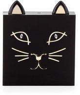 Charlotte Olympia Kitty Square Acrylic Box Clutch, Black