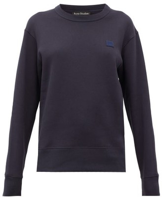 Acne Studios Forbra Oversized Face-patch Cotton Sweatshirt - Navy