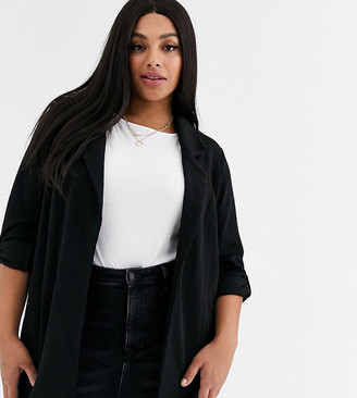 New Look Plus New Look Curve tie sleeve blazer in black