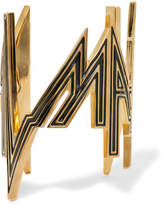 Balmain Enameled Gold-tone Cuff - One size