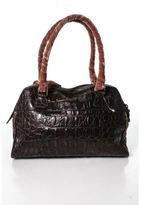 Miu Miu Brown Caimen Crocodile Velvet Wrapped Handle Tote Handbag