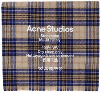 Acne Studios Beige and Blue Cassiar Tartan Scarf