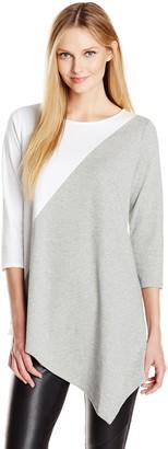 Joan Vass Women's 3/4 Sleeve Colorblock Tunic