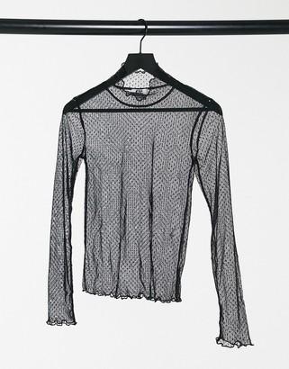 ELVI mesh top in black