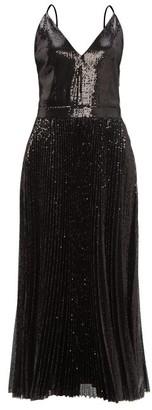 MSGM Pleated Sequinned Dress - Black
