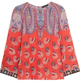 Etro Printed Silk Crepe De Chine Top - Coral
