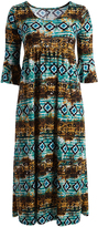 Glam Brown & Blue Geometric Empire-Waist Maxi Dress - Plus