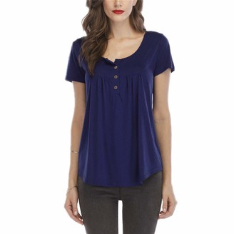 Lichee Women Henley Shirts V Neck Blouse Button Up Tunic Casual Tops (Dark Blue 3XL)